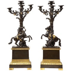 Large Pair of French Restauration Ormolu and Patinated Bronze Candelabra, Horses
