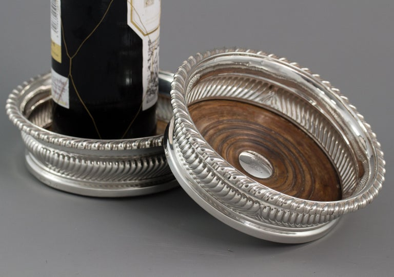 Large Pair of George III Silver Wine Coasters, Sheffield, 1819 For Sale 5