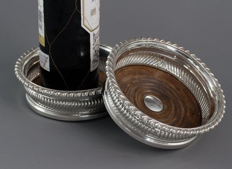 Large Pair of George III Silver Wine Coasters, Sheffield, 1819 For Sale 6