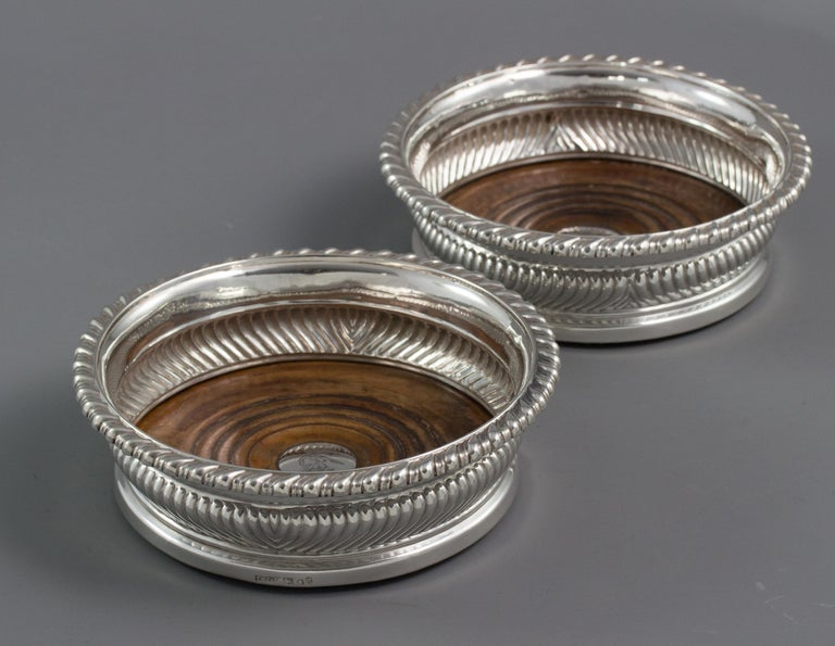 English Large Pair of George III Silver Wine Coasters, Sheffield, 1819 For Sale