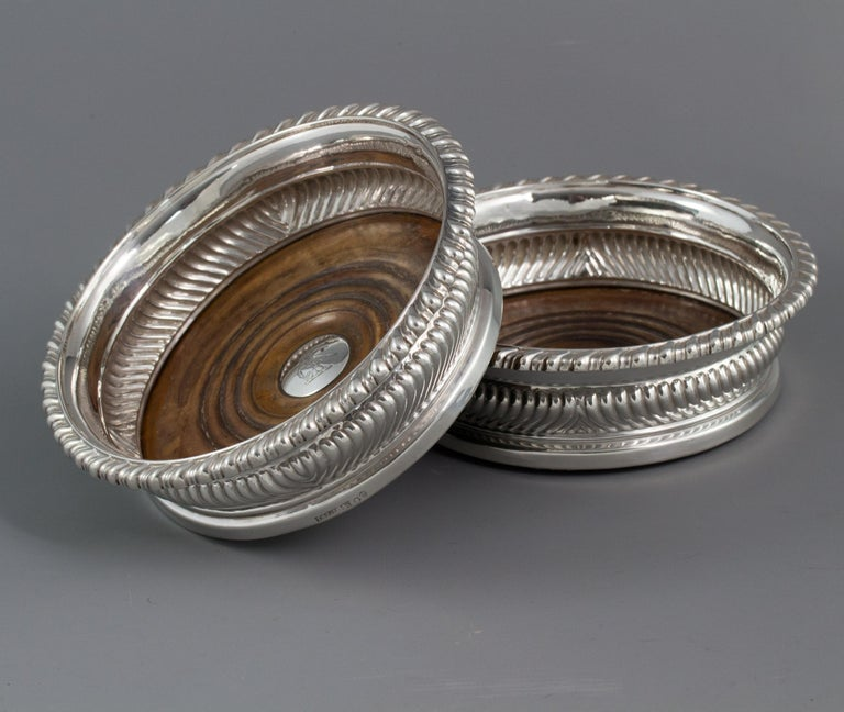 Early 19th Century Large Pair of George III Silver Wine Coasters, Sheffield, 1819 For Sale