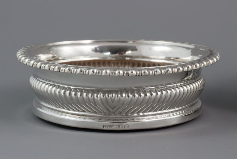 Sterling Silver Large Pair of George III Silver Wine Coasters, Sheffield, 1819 For Sale