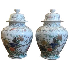 Large Pair of Hand Enameled Chinese Ginger Jars