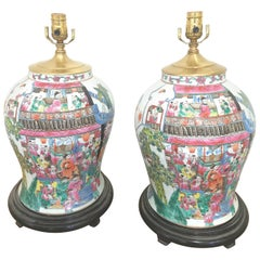 Large Pair of Hand Painted Chinese Porcelain Temple Jars Now as Lamps