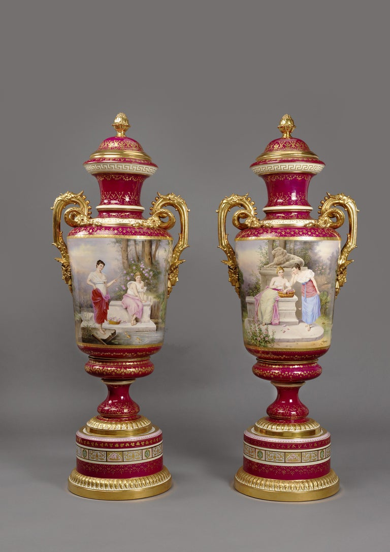Austrian Large Pair of Magenta Ground Vienna Porcelain Exhibition Vases, circa 1900 For Sale