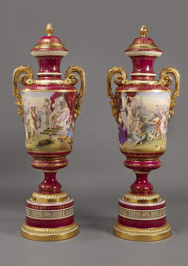 Painted Large Pair of Magenta Ground Vienna Porcelain Exhibition Vases, circa 1900 For Sale