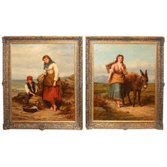 Large Pair of Mid-19th Century English Oil Paintings by Walter Jackson