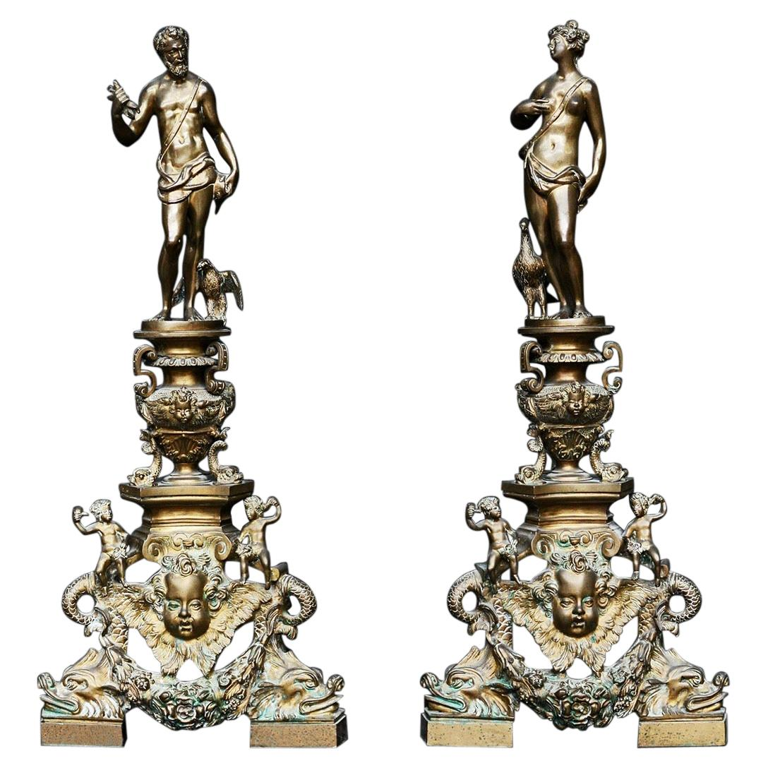 Large Pair of Ornate Brass Andirons