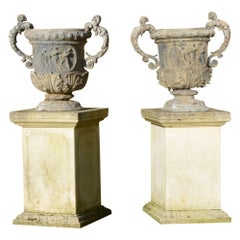 Large Pair of Ornate Lead Urns