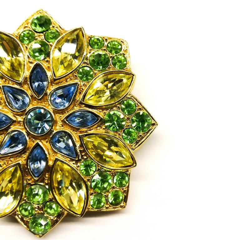 A large paste and gilt metal  'star' brooch, Yves Saint Laurent, France, 1980s In Excellent Condition For Sale In London, London