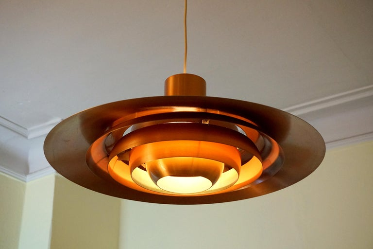 Large P.Fabricius & J.Kastholm Mod. P700 Pendant in Copper for Nordisk Solar In Fair Condition For Sale In Halle, DE