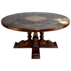 Large Provincial 20th Century Continental Walnut Center, Dining Table Round