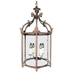 Large Regency Hall 6 Sided Lantern in an Old Bronze Finish, circa 1820