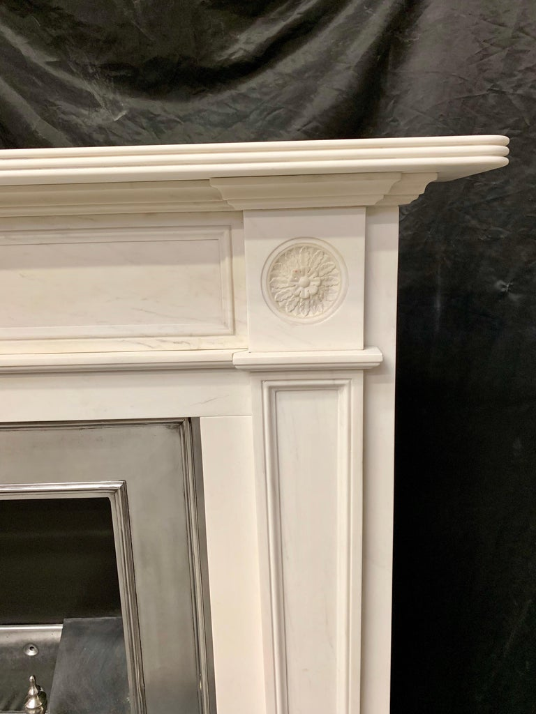 British Large Regency Style Carved Statuary Marble Fireplace Surround For Sale