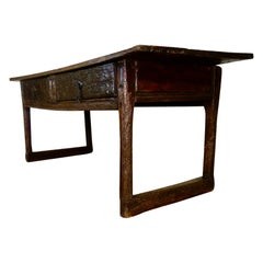 Large Scale 17th Century Chestnut Spanish Prep Serving Table Kitchen Drawers