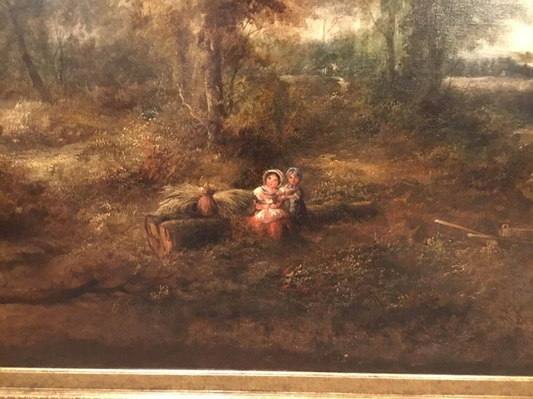 Victorian Large Scale 19th Century Rural Landscape Oil Painting For Sale