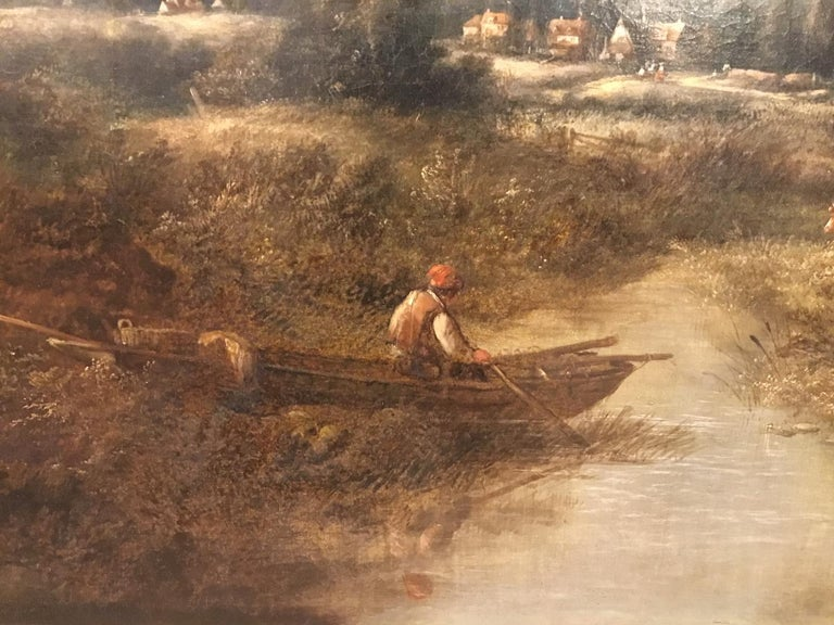 Large Scale 19th Century Rural Landscape Oil Painting In Good Condition For Sale In Darwen, GB