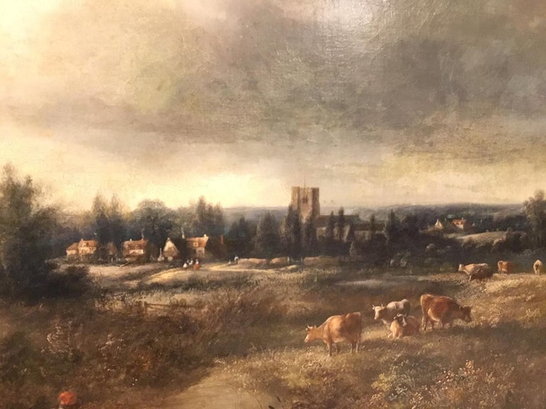 Mid-19th Century Large Scale 19th Century Rural Landscape Oil Painting For Sale