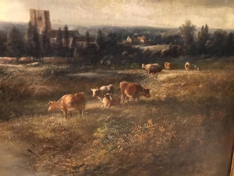Giltwood Large Scale 19th Century Rural Landscape Oil Painting For Sale