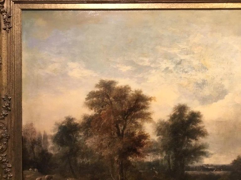 Large Scale 19th Century Rural Landscape Oil Painting For Sale 1