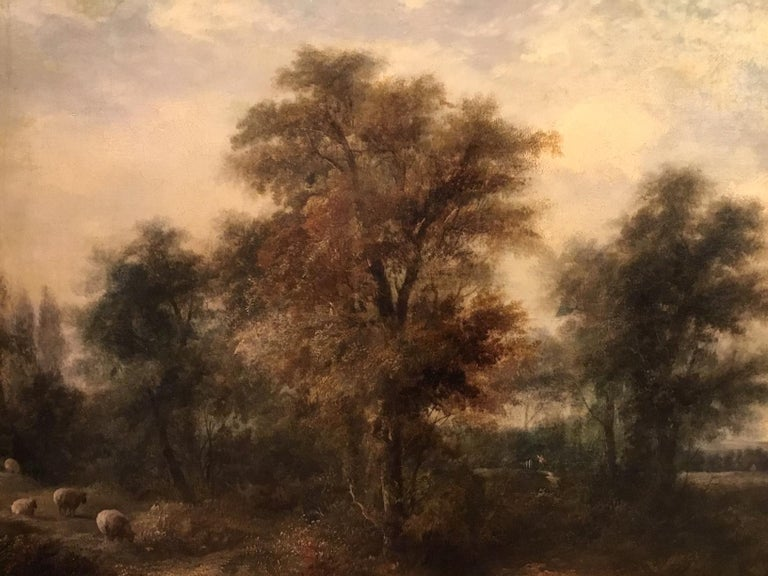 Large Scale 19th Century Rural Landscape Oil Painting For Sale 2