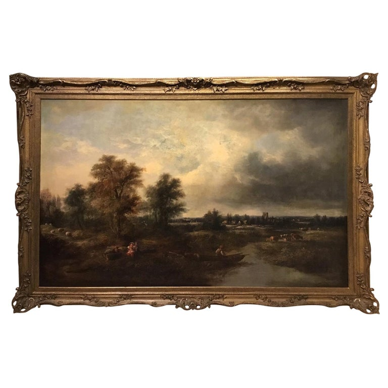 Large Scale 19th Century Rural Landscape Oil Painting For Sale