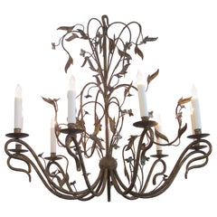 Large-Scale French Gilt-Iron 8-Light Chandelier with Foliate Vines