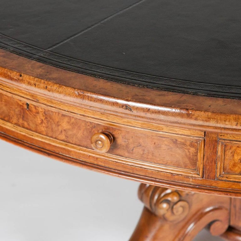 Large Scale Pollard Oak and Walnut Library Table, English, circa 1860 In Excellent Condition For Sale In London, GB