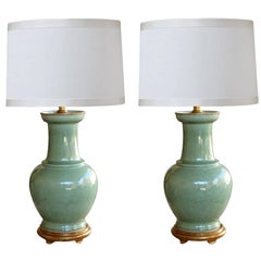 Large Scaled Pair of Antique Chinese Celadon Glazed Vases Now Mounted as Lamps