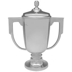Large Sterling Silver Art Deco Trophy Hallmarked in 1934 by Gibson & Langman