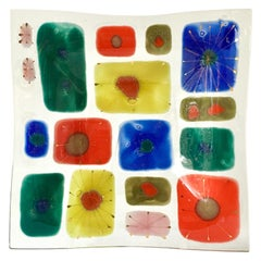A Large Studio Coral Fused Art Glass Plate by Higgins, 1950s