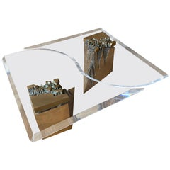 Large Two-Piece Brass and Lucite Coffee Table