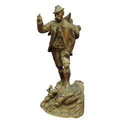 Large Unfinished Black Forest Poacher with Ibex Carving