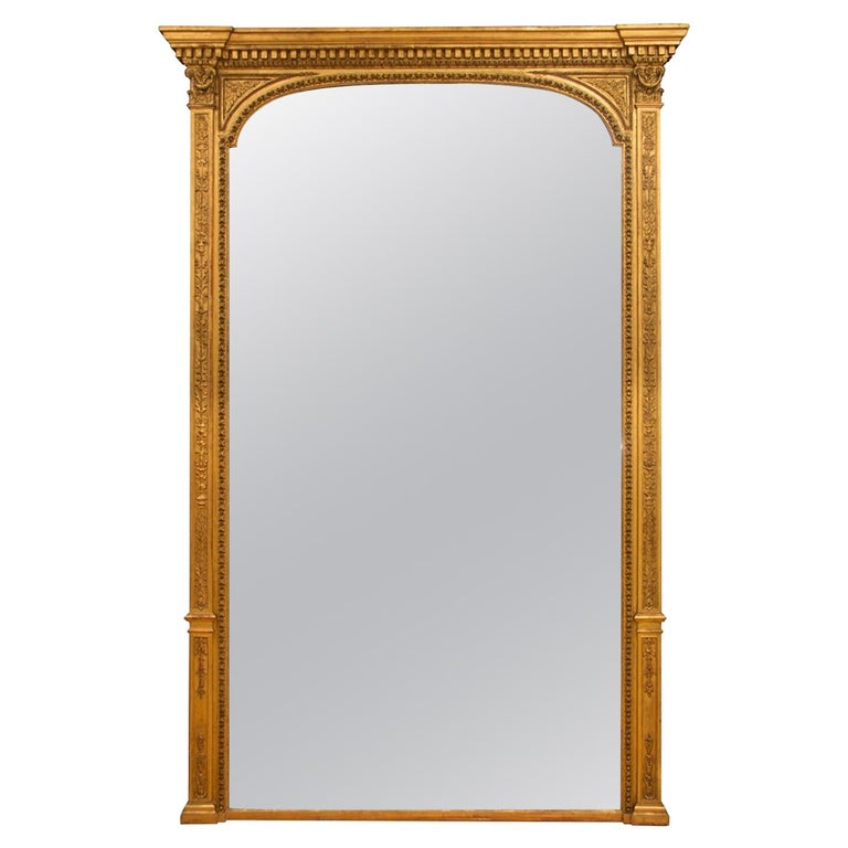 Large Victorian Antique Gilded Mirror