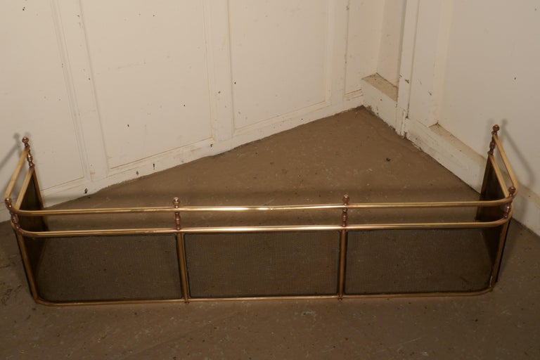 Large Victorian Brass Club Fender For Sale 2