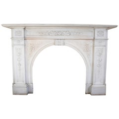 Large Victorian Carved White Statuary Marble Fire Surround