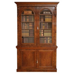Large Victorian Walnut Library Bookcase