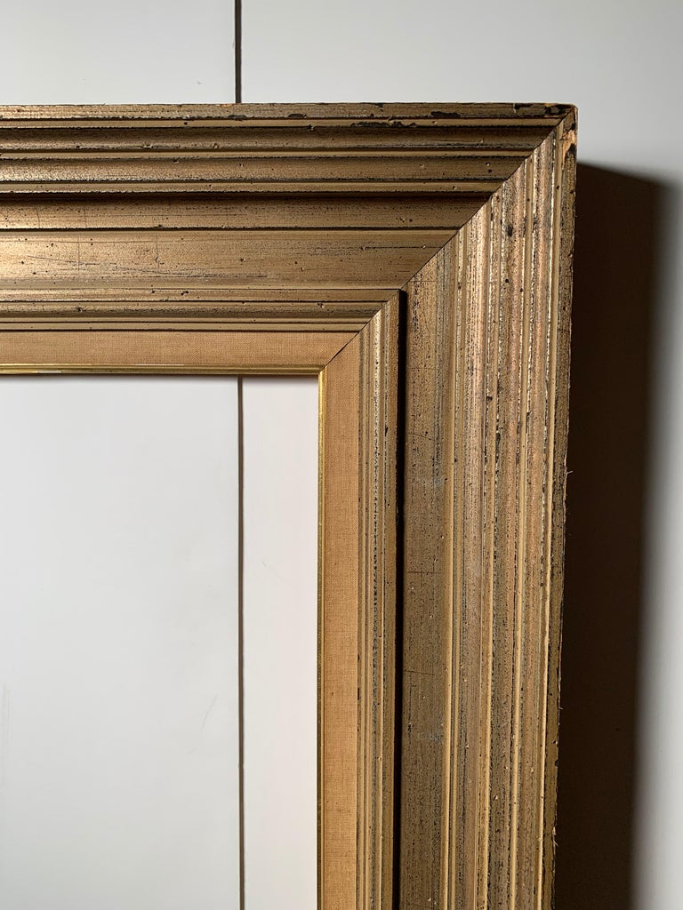 Modern Large Vintage Armand Lee Matt Silver Mirror or Picture Frame For Sale
