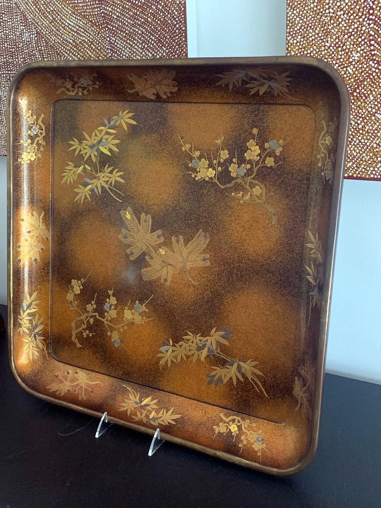 Japonisme Large Vintage Japanese Maki-e Lacquer Kimono Tray For Sale