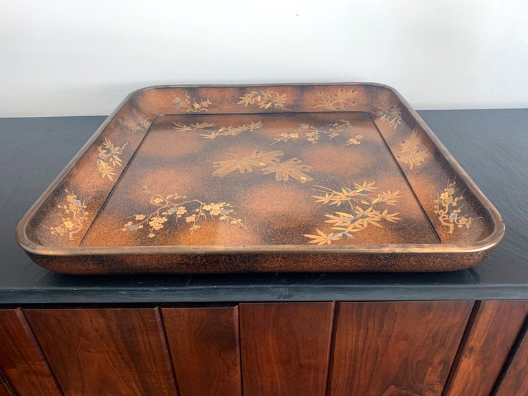 Mid-20th Century Large Vintage Japanese Maki-e Lacquer Kimono Tray For Sale
