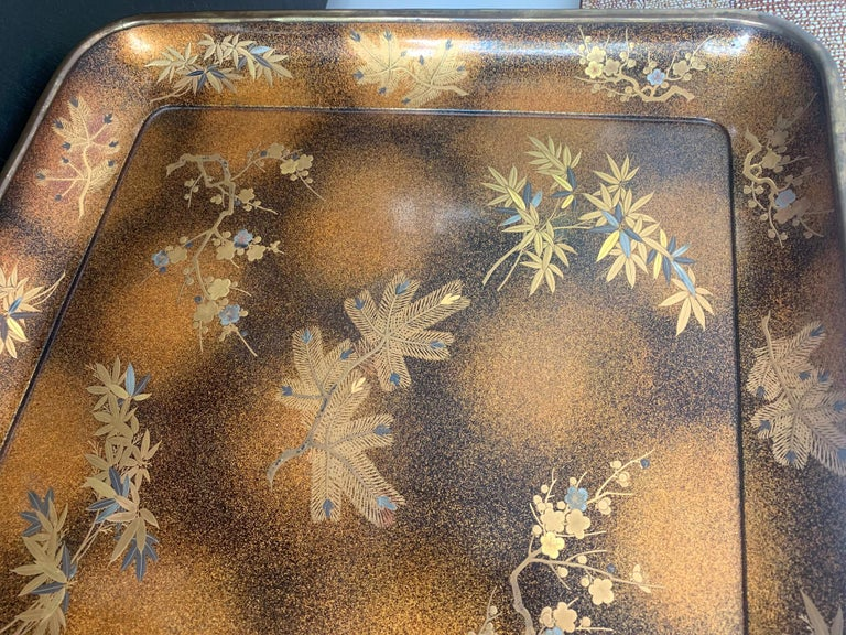 Large Vintage Japanese Maki-e Lacquer Kimono Tray For Sale 2