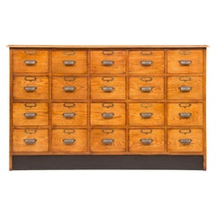 Large Vintage Style Oak Bank of Drawers