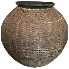 Large Woven Clay Roswi Pot from Africa