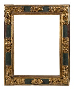 A Late 17th-Early 18th Century Spanish Gilt and Polychrome Frame