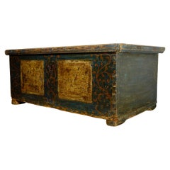 A Late 18th Century Continental Original Painted Dowry Chest, Trunk Coffee Table