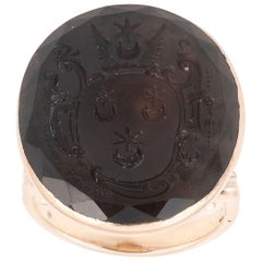 Late 18th Century Gold and Smokey Quartz Family Crest Ring