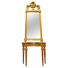 Late 18th Century Italian Giltwood Mirror and Demilune Console