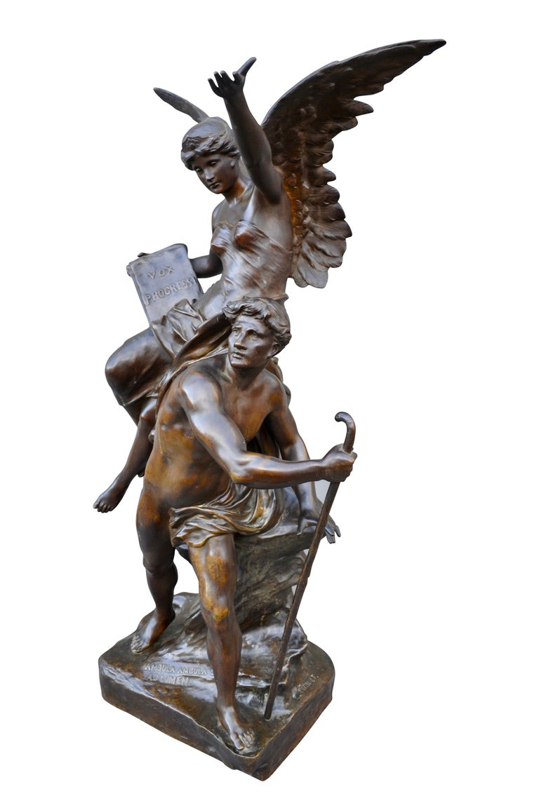 Emile Louis Picault (1833-1915) Vox Progressi. A rare and important bronze statue featuring a classically draped winged maiden sitting on a tree trunk one hand aloft and the other holding a tablet bearing the latin inscription