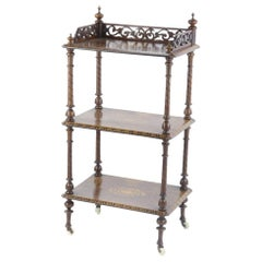Late 19th Century Walnut Rectangular Three-Tier Whatnot with Floral Inlay
