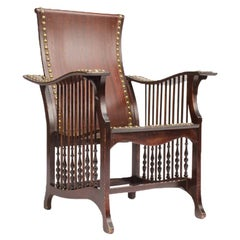 Late 19th Century American Mahogany and Brass Library Armchair